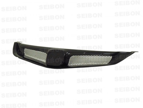 MG-style carbon fiber front grille for 2006-2010 Honda Civic 4DR JDM