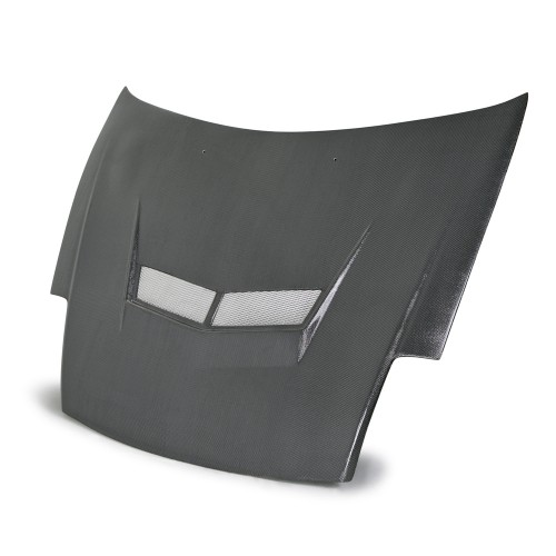 VSII-style silver string carbon hood for 2000-2005 Mitsubishi Eclipse