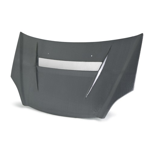 VSII-style silver string carbon hood for 2002-2005 Honda Civic Si